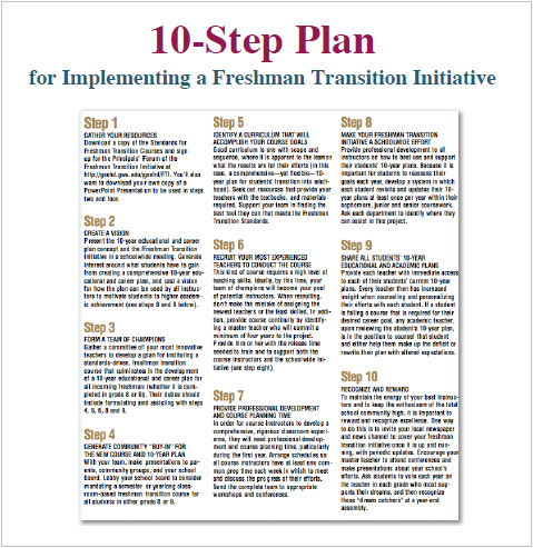 10-Step Plan for Implementing a Freshman Transition Initiative